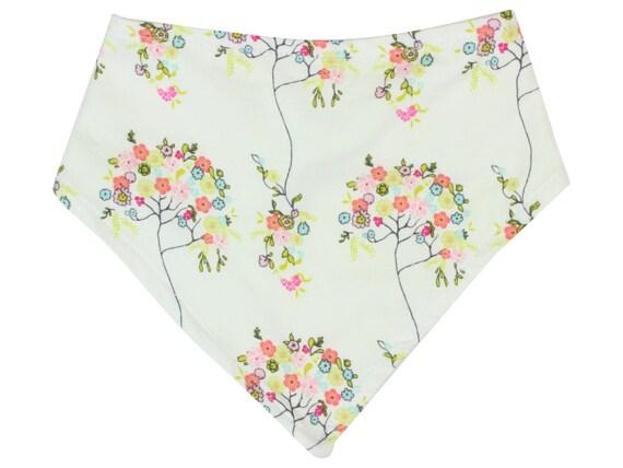 Tree Flower Bandana Bib Bibdana Baby Bib Drool Bib Girl Bib Girly Bibdana Organic Bamboo Baby Terry Toddler Bib Cream Floral Baby Bib
