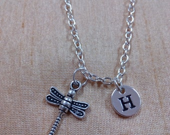 Dragonfly charm necklace - dragonfly necklace, silver dragonfly jewelry, insect jewelry, damselfly necklace, bug charm necklace