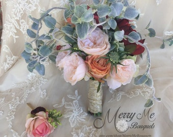 Unique Peach and Burgundy Bouquet - Peach Bouquet - Asymmetrical Bouquet - Peach and Mint Silk Bouquet - Asymmetrical Bridal Bouquet