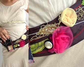 Ties And Belts, Gifs for Her, Wide Belts, Feminine Ties,  Ladies Belt, Handmade Flowers, Sash Belts Tie, Belts Wrap, Boho Trend Handmade