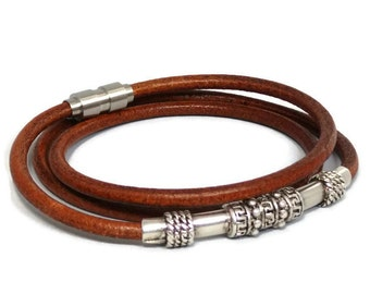 Womens leather bracelet - womens bracelet - Greek tube bracelet - brown bracelet - round leather bracelet - wrap bracelet - magnetic clasp
