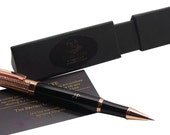 Luxury Pen 18k Rose Gold clad Executive Rollerball Ballpoint Short Name Initials Monogram Custom Engraved with Gift Box and Certificate