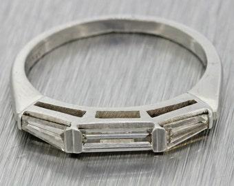 1950s Vintage Art Deco Estate Platinum 0.7ctw Diamond Wedding Band Ring