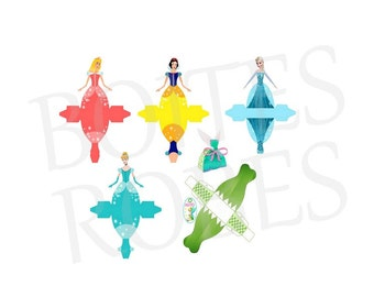 TEMPLATE 5 boxes dress disney cut out for gift, sweets etc. to print