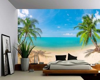 Palm Beach - Large Wall Mural, Self-adhesive Vinyl Wallpaper, Peel & Stick fabric wall decal