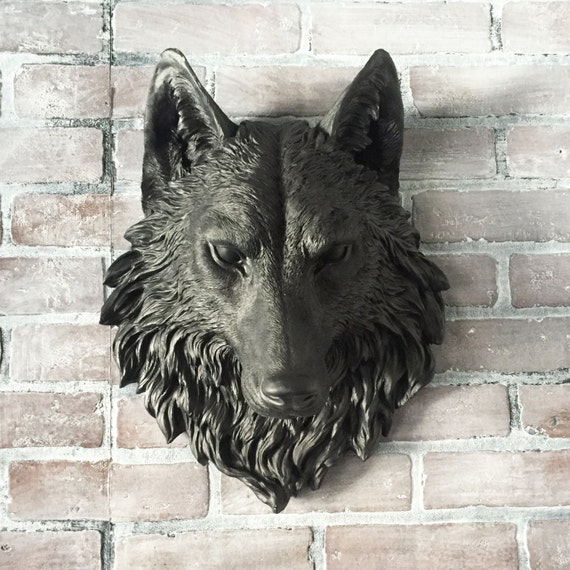 Any color or black wolf head wall mount faux by kingfour for Animal head wall decoration