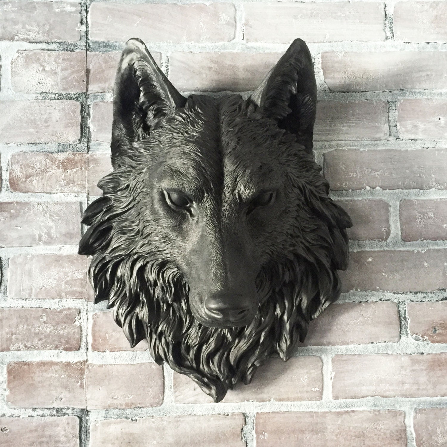 Any color fake wolf head wall mount faux taxidermy 3d for Animal head wall decoration