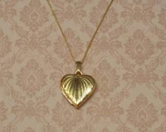 Vintage Gold Locket Heart Shape Gold Plated