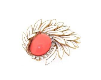 Vintage Jomaz Brooch Coral White Enamel