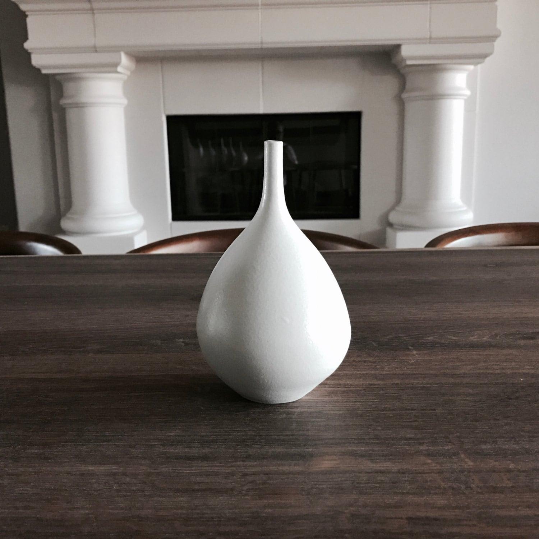 Modern matte white porcelain bottle vase decor bud vase Haight