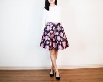 Alexis Pleated Skirt in Peonies Jacquard