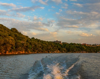 Lake Granbury Sunset with Trees, Clouds, and Boat Wake