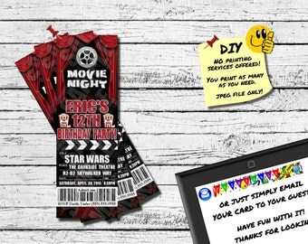 BOWLING BIRTHDAY PARTY Ticket Invitation Printable Invite