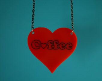 Acrylic heart coffee necklace.
