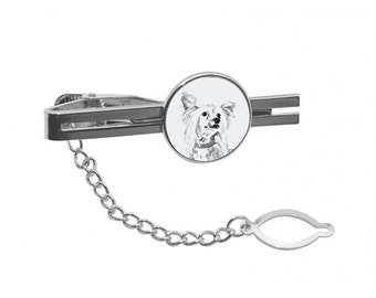 NEW! Chinese Crested Dog - Tie pin with an image of a dog.