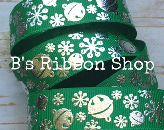 "7/8"" Silver Foil Snowflake Bells on Emerald USDR grosgrain ribbon christmas"