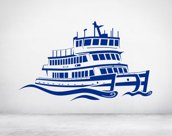 Ferry Boat. Vinyl wall art decal sticker. Any color and size. (#88)