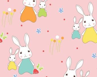 Ella Blue Bunny Trail Spring Bunnies Pink (Half metre)
