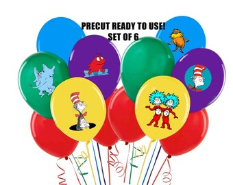 Dr Seuss Balloon Stickers Set of 6 Tablecloth or balloon stickers Precut Ready to Use Dr Seuss Cat in Hat
