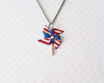 Patriotic Pinwheel necklace, polymerclay