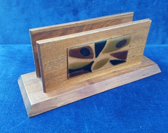 Mid century letter holder with enamel on copper detail