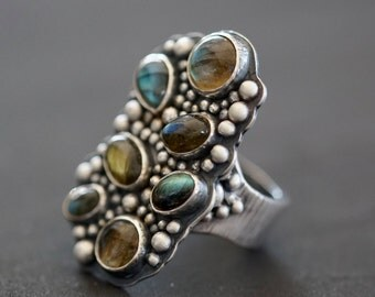 Labradorite and sterling silver statement ring, size 7.75, multistone cluster ring, one of a kind, unique organic design, handmade ring,