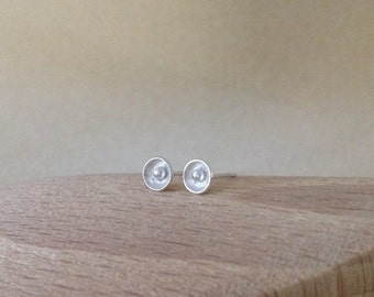 Sterling silver dainty flower cup stud post earrings