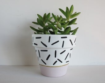 Hand Painted Plant Pot - Pink Dash
