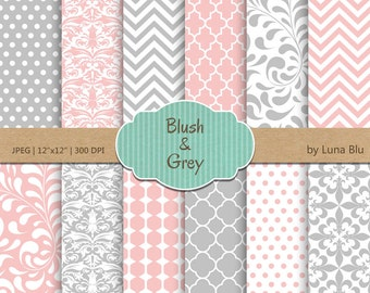 "Blush and Gray Digital Paper: ""Blush and Gray Patterns""  for invitations, scrapbooking, cardmaking, crafts"