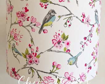 Pink Blossom and Blue Tit Fabric Lampshade