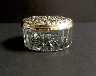 Mid Century Round Glass Trinket Dish with Decorative Silver Plate Lid, Silver Plate & Glass Jar, Powder Jar, Dresser Jar