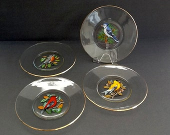 Hand Painted Glass Plates, Set of 4, Colorful Birds, Gold Band Rims, Glass Luncheon Plates