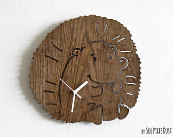 Baby Hedgehog - Wooden Wall Clock
