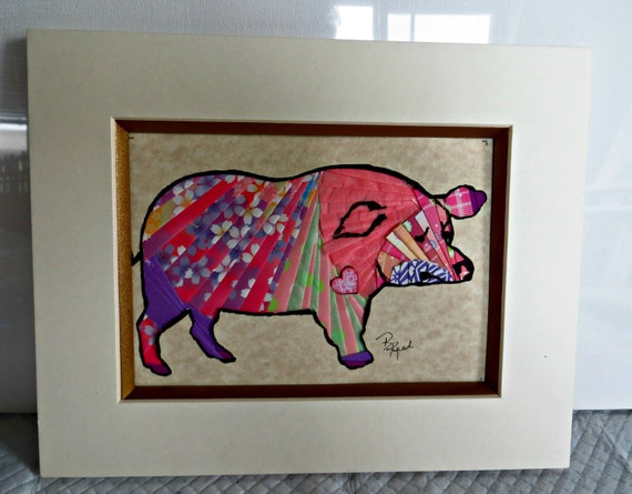 Handmade Wall Decor Pig Kitchen Iris Folding By