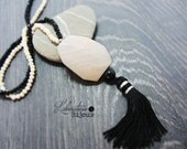 Tassel necklace,Black and...