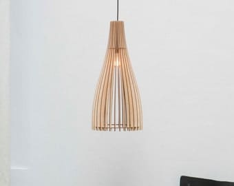 wood lamp - wood light - wood hanging lamp - wood hanging light - lampshade - wood lampshade - pendant light
