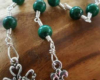 Celtic Pocket Rosary with Malachite rounds