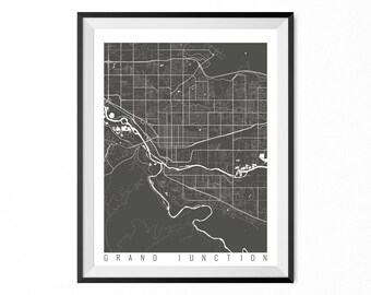 GRAND JUNCTION Map Art Print / Grand Junction City Poster / Grand Junction Wall Art / Colorado/ Gift / Colorado home decor
