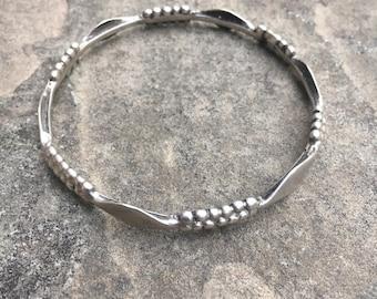 Small Vintage Silver Tribal Bangle Bracelet
