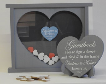 wedding drop box heart box wedding guest book personalised alternative guest book painted heart drop box Wedding gift grey wedding box