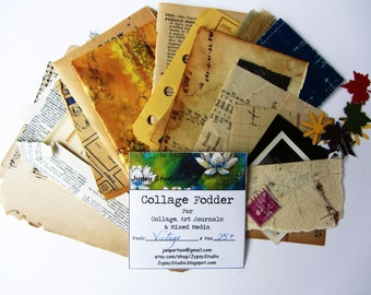 IMPROVED Vintage Collage Fodder Pack-25 Ct for Collage, Mixed Media, Art Journaling and Altered Art.