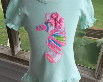 In stock item!!!! Ready to ship!!! Size 6 Seahorse applique in Lilly Pilitzer Shellabrate fabric