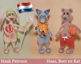062NLY Haas, Beer en Kat met accessories -Haak patroonPDF file Amigurumi by Borisenko Etsy