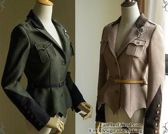 Exclusive Designer Fashion, Neo-ludwig Steel Rose, Military Steampunk Vintage Retro Trench Autumn Uniform Coat