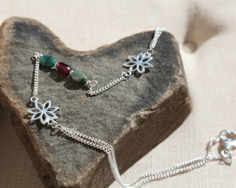 Emerald and Garnet Foot Chain
