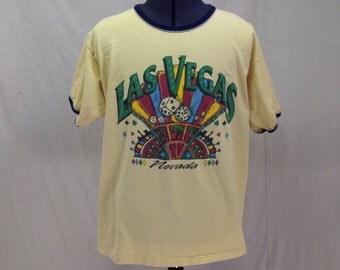 Vintage Las Vegas Ringer Tee Shirt // Yellow Casino Gambling Dice T-shirt // Extra Large XL