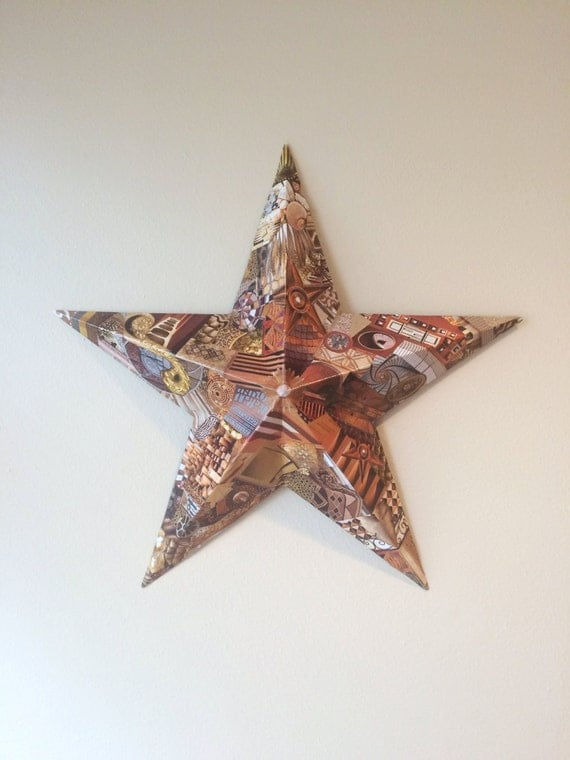 Wall Art Metal Stars : Star metal wall art decoupaged