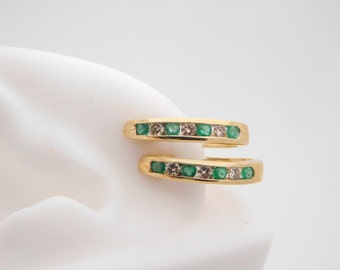 0.50 Carat T.G.W. Round Cut Emerald & Diamond Earrings 14K Yellow Gold