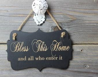 chalkboard, laser engraved,hanging sign,sign,chalkboard sign,front door sign,bless this home,welcome sign