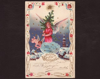 Christmas angel with a christmas tree, German postcard - Cherubs, embossed lithograph, vintage, antique greeting card - 1902 (V11-50)